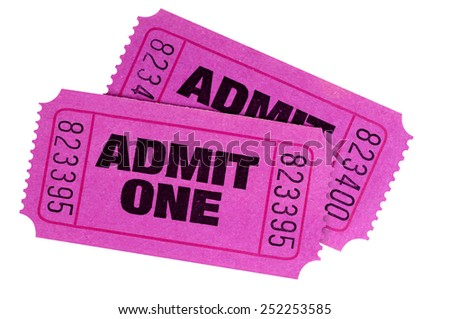 Movie ticket : Two purple or pink admit one tickets isolated on white background.   - stock photo