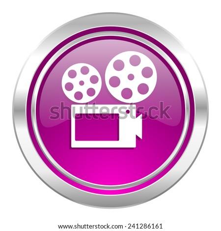 movie violet icon cinema sign  - stock photo
