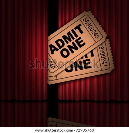 Movies and entertainment tickets and cinema show stubs behind The curtain as a peek into a back stage pass and announcement of new cinematic release opening with red velvet drapes. - stock photo