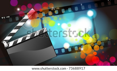 movies film and Clapper board  background - stock photo