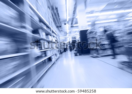 moving at the supermarket - stock photo