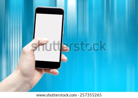 moving background and isolated screen phone in the hands of women - stock photo