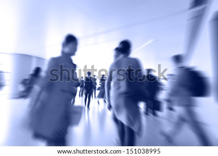 moving blur people - stock photo