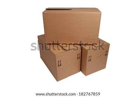 moving box on white background - stock photo