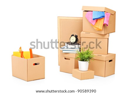Moving boxes and other moving stuff isolated on white background - stock photo