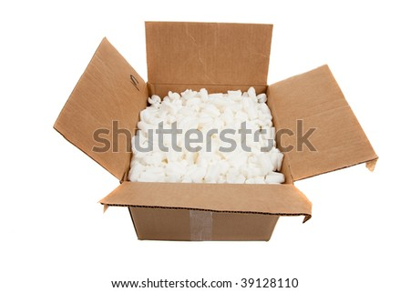 Moving boxes with fragile sticker on a white background - stock photo