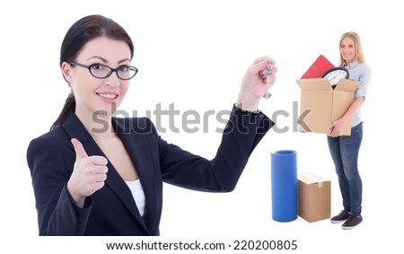 moving day concept - business woman with metal key and girl with box isolated on white  background - stock photo