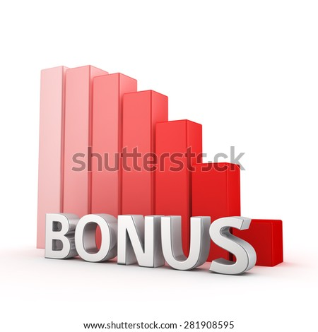 Moving down red bar graph of Bonus on white. Prize decrease concept.