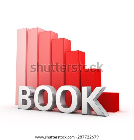 Moving down red bar graph of Book on white. Publications decrease concept.
