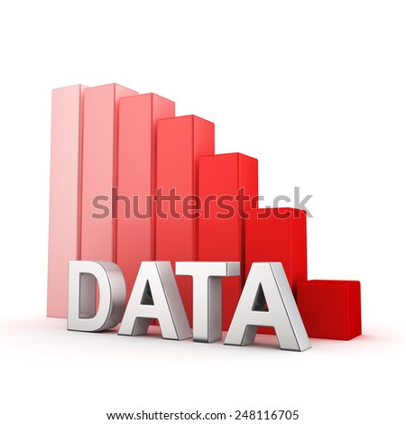 Moving down red bar graph of Data on white. Recession and crisis concept. - stock photo