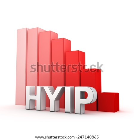 Moving down red bar graph of HYIP on white. Recession and crisis concept. - stock photo