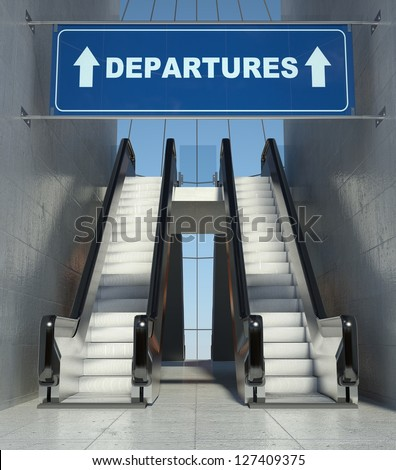 Moving escalator stairs in modern airport, departures sign - stock photo