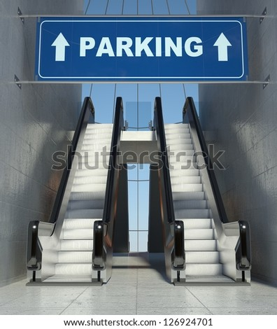 Moving escalator stairs in modern building, parking sign - stock photo