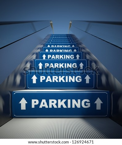 Moving escalator stairs to parking, conception - stock photo