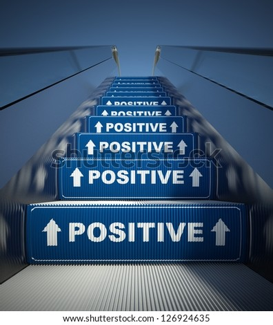 Moving escalator stairs to positive, conception - stock photo