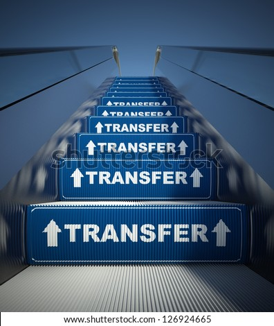 Moving escalator stairs to transfer, conception - stock photo
