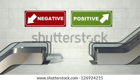 Moving escalators stairs, arrivals departures sign - stock photo