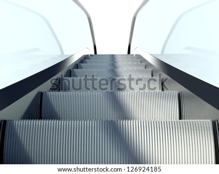 Moving escalators stairs, modern building design - stock photo