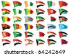 Moving flags set - Africa & Middle East. 36  flags. . JPEG version. - stock photo