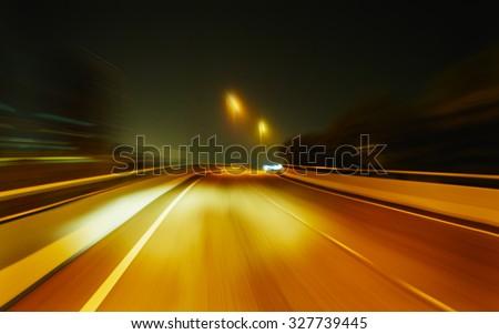 moving forward motion blur background,night scene - stock photo