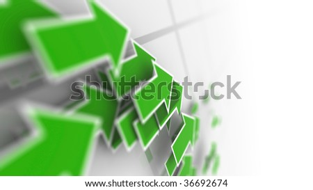 Moving Green Arrows, footage available also - stock photo