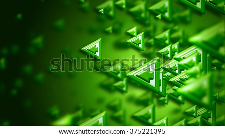 Moving group of arrows on green backdrop, as a concept and a sign of the right choice of internet community in cyberspace for determination direction and areas of cooperation of the crowd - stock photo