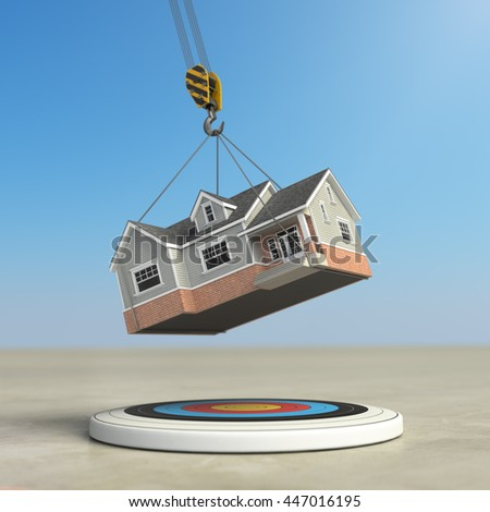 Moving  home. Crane with house and target. Change of residence. Real estate concept. 3d illustration - stock photo