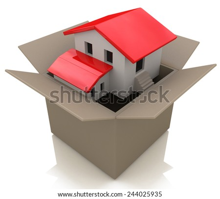 Moving house and move day with a model home in an opened cardboard box as an illustration of the healthy real estate market sales and packing to change neighborhood due to business work transfer - stock photo