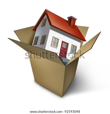 Moving house and move day with a model home in an opened cardboard box as an illustration of the healthy real estate market sales and  packing to change neighborhood due to business work transfer.