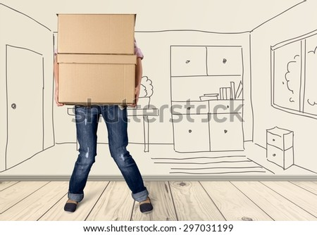 Moving House, Box, Physical Activity. - stock photo