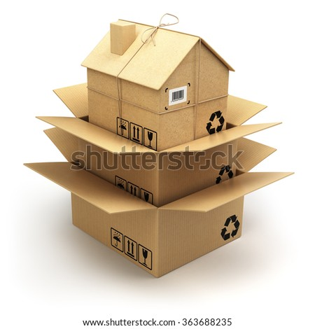 Moving house.  Cardboard box as home isolated on white. Real estate market. Delivery concept. 3d - stock photo