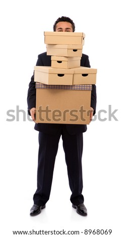 moving house concept with lots of cardboards - stock photo
