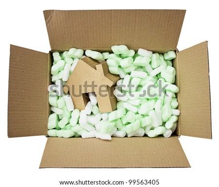 moving house, gold house in box full of foam protective packaging isolated on white - stock photo