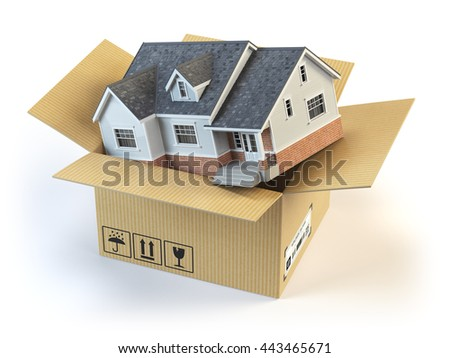 Moving house. Real estate market. Delivery concept. Cardboard box and home isolated on white. 3d illustration