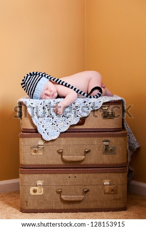 Moving in!  Concept of newborn moving into the family.  Room for your text on top. - stock photo