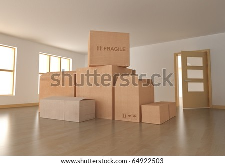 Moving in; empty room with boxes. 3D rendered image - stock photo