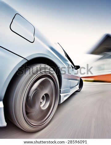 Moving Japanese performance race drift car - stock photo