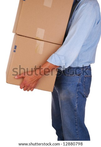 Moving Man Carrying Boxes isolated over white