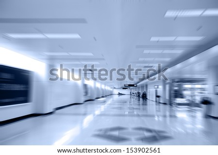 moving people at modern building  - stock photo