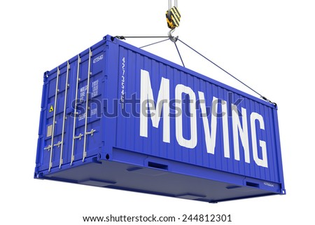 Moving - Royal Blue Cargo Container hoisted by hook, Isolated on White Background. - stock photo