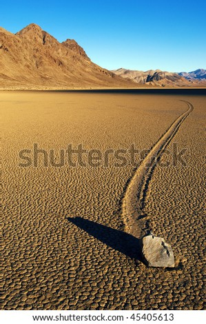 Moving stone in the desert of Death Valley national park, California, USA
