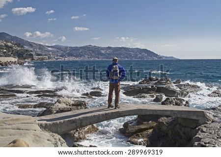 Moving swell in Bordighera on the Italian Riveira - stock photo