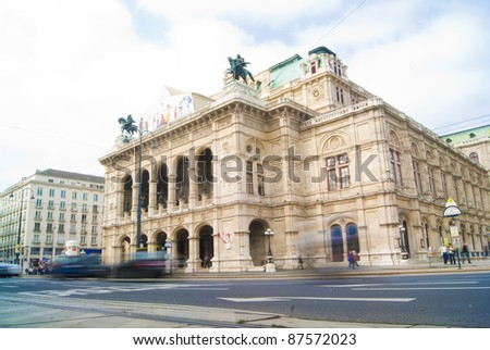Moving Traffic in front of The State Opera House, Vienna, Austria - stock photo