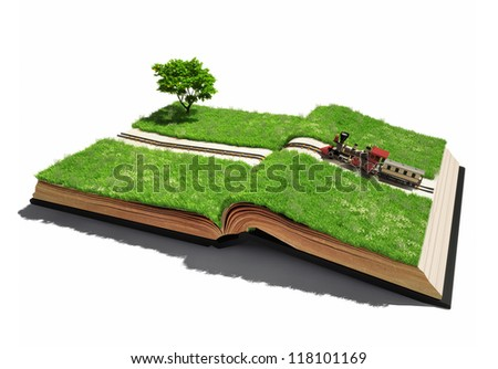 moving train on the open book pages (illustrated concept) - stock photo