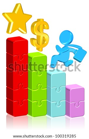 Moving Up Business Chart - stock photo
