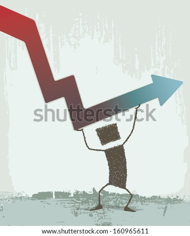 Moving Up. Businessman making an effort to return to growth - stock photo