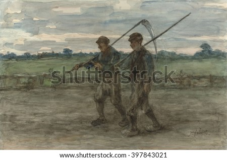 Mowers, by Jozef Israels, c 1860-1910, Dutch painting, watercolor on paper. Two male harvesters walk in a field, carrying their scythes - stock photo