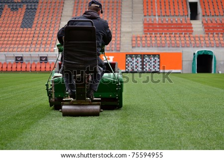 mowing grass - stock photo