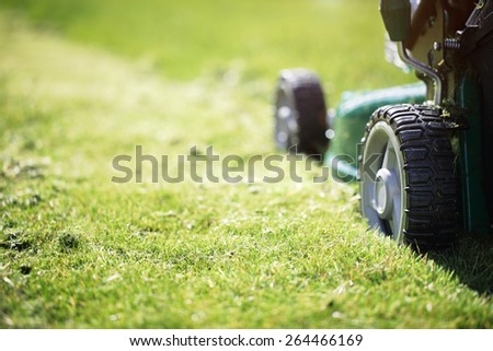 Mowing or cutting the long grass with a green lawn mower in the summer sun - stock photo