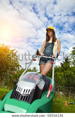 Girl Lawn Mower Stock Images Royalty Free Images
